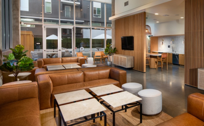 spacious indoor lounge with modern decor and ample seating on leather couches