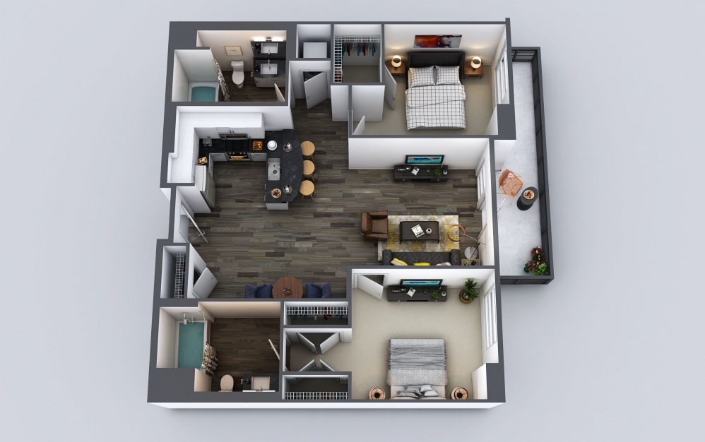 C1 - 2 bedroom floorplan layout with 2 baths and 1070 to 1118 square feet.