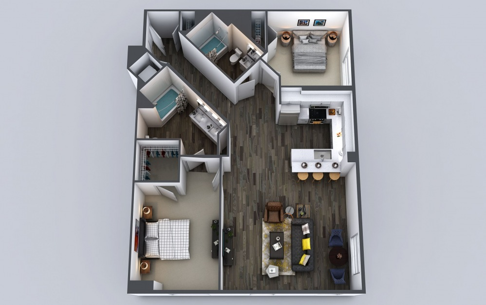 C3 - 2 bedroom floorplan layout with 2 baths and 1215 to 1234 square feet.